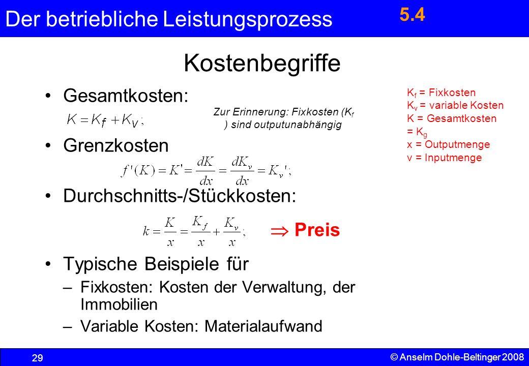 Der betriebliche Leistungsprozess 29 © Anselm Dohle-Beltinger 2008 Kostenbegriffe Gesamtkosten: Grenzkosten Durchschnitts-/Stückkosten: Preis Typische
