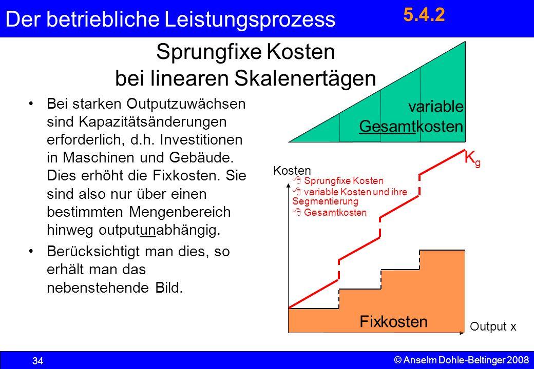 Der betriebliche Leistungsprozess 34 © Anselm Dohle-Beltinger 2008 variable Gesamtkosten Sprungfixe Kosten bei linearen Skalenertägen Bei starken Outp