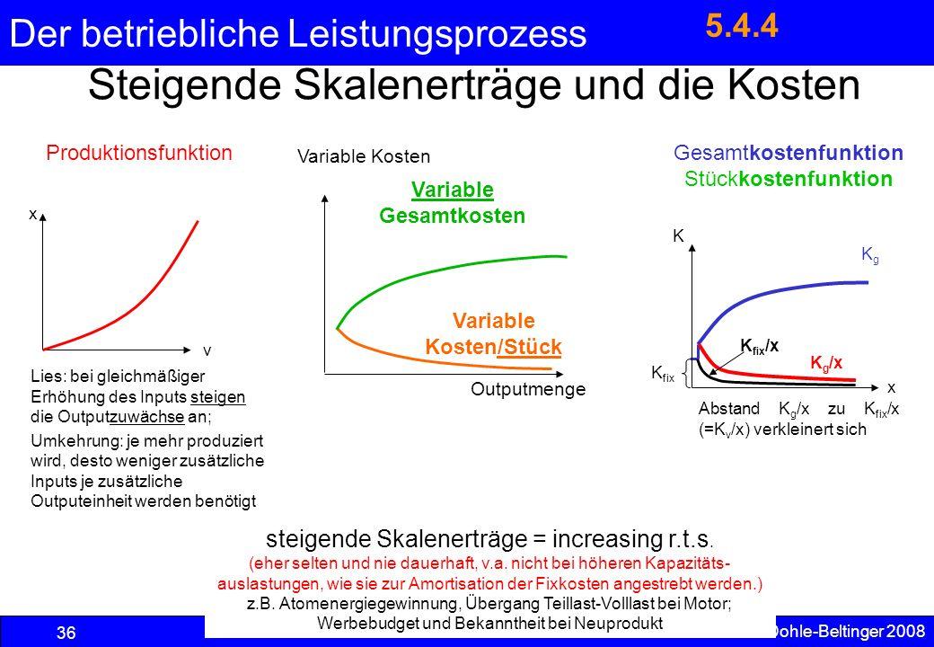 Der betriebliche Leistungsprozess steigende Skalenerträge = increasing r.t.s. (eher selten und nie dauerhaft, v.a. nicht bei höheren Kapazitäts- ausla