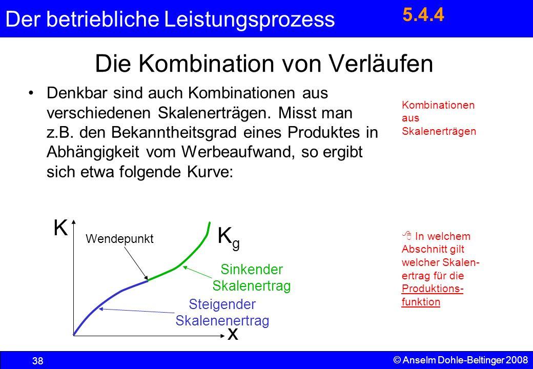 Der betriebliche Leistungsprozess 38 © Anselm Dohle-Beltinger 2008 Die Kombination von Verläufen Denkbar sind auch Kombinationen aus verschiedenen Ska