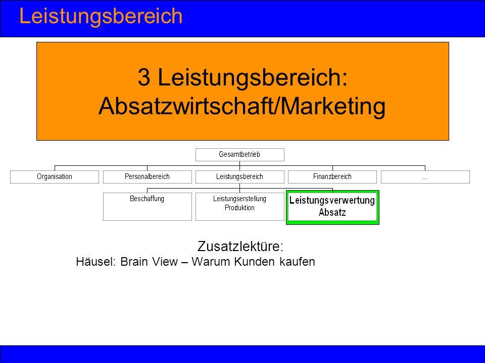 Leistungsbereich 3 Leistungsbereich: Absatzwirtschaft/Marketing Zusatzlektüre: Häusel: Brain View – Warum Kunden kaufen