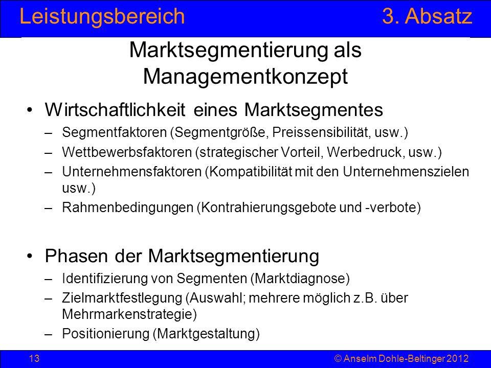 Leistungsbereich3. Absatz © Anselm Dohle-Beltinger 201213 Marktsegmentierung als Managementkonzept Wirtschaftlichkeit eines Marktsegmentes –Segmentfak