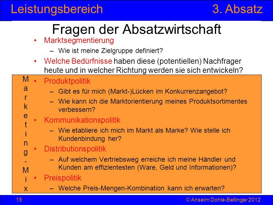 Leistungsbereich3. Absatz © Anselm Dohle-Beltinger 201215 Marketing-MixMarketing-Mix Marktsegmentierung –Wie ist meine Zielgruppe definiert? Welche Be
