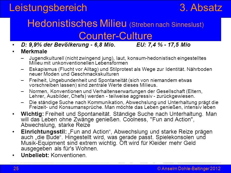 Leistungsbereich3. Absatz © Anselm Dohle-Beltinger 201225 Hedonistisches Milieu (Streben nach Sinneslust) Counter-Culture D: 9,9% der Bevölkerung - 6,