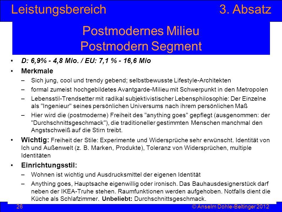 Leistungsbereich3. Absatz © Anselm Dohle-Beltinger 201226 Postmodernes Milieu Postmodern Segment D: 6,9% - 4,8 Mio. / EU: 7,1 % - 16,6 Mio Merkmale –S