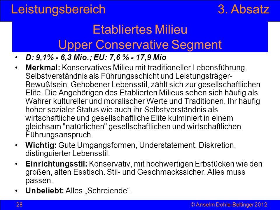 Leistungsbereich3. Absatz © Anselm Dohle-Beltinger 201228 Etabliertes Milieu Upper Conservative Segment D: 9,1% - 6,3 Mio.; EU: 7,6 % - 17,9 Mio Merkm
