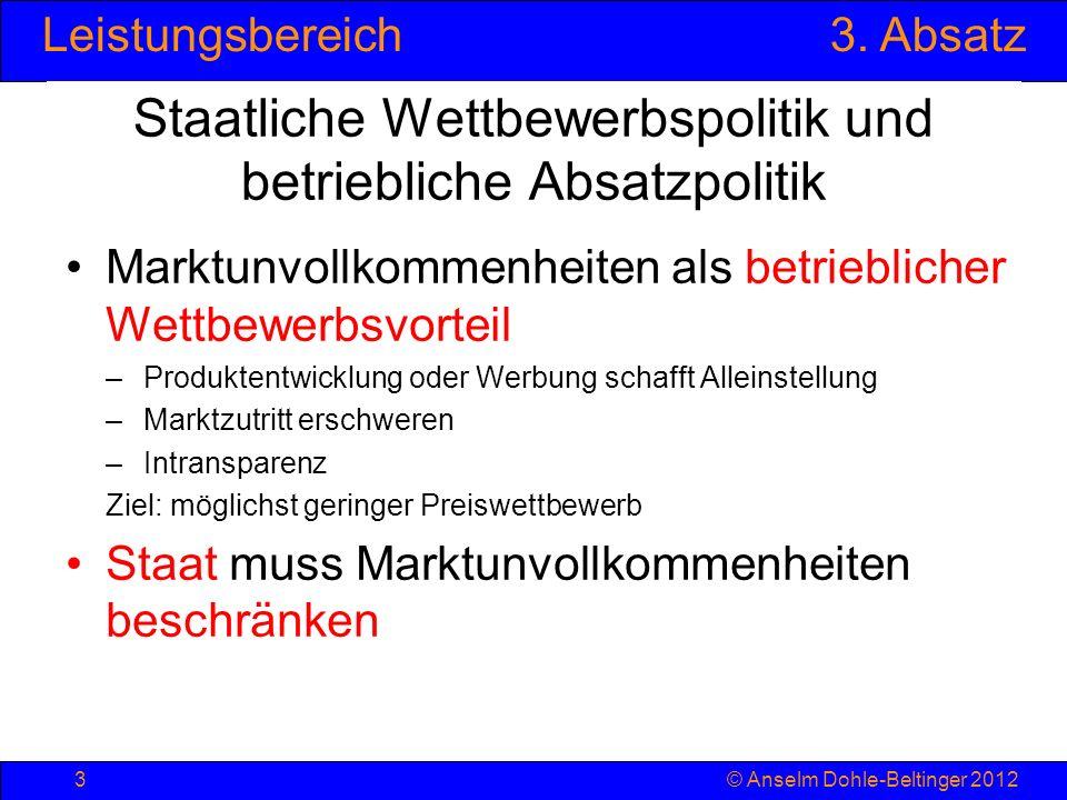 Leistungsbereich3. Absatz © Anselm Dohle-Beltinger 20123 Staatliche Wettbewerbspolitik und betriebliche Absatzpolitik Marktunvollkommenheiten als betr