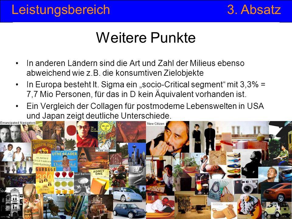 Leistungsbereich3. Absatz © Anselm Dohle-Beltinger 201232 Weitere Punkte In anderen Ländern sind die Art und Zahl der Milieus ebenso abweichend wie z.