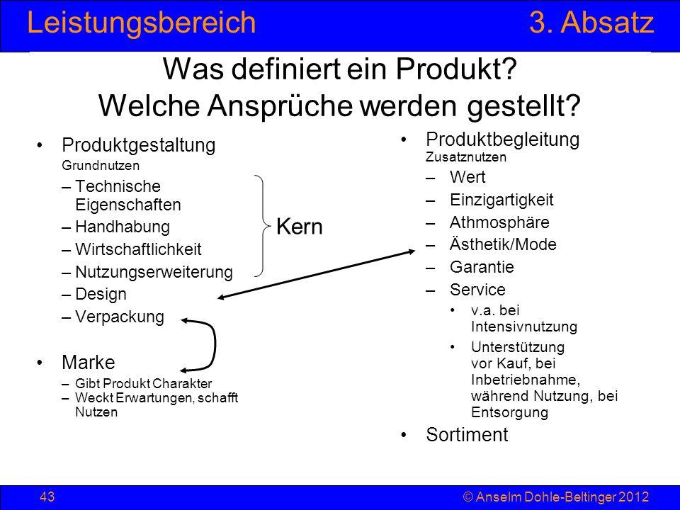 Leistungsbereich3. Absatz © Anselm Dohle-Beltinger 201243 Was definiert ein Produkt? Welche Ansprüche werden gestellt? Produktgestaltung Grundnutzen –