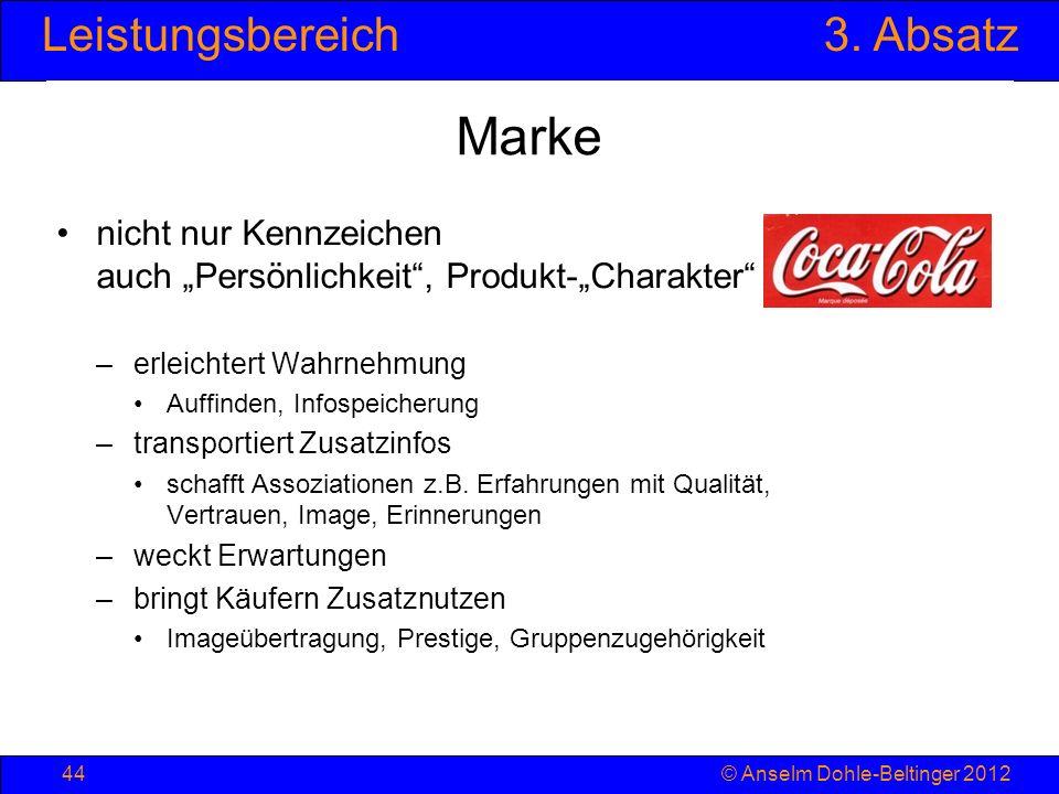 Leistungsbereich3. Absatz © Anselm Dohle-Beltinger 201244 Marke nicht nur Kennzeichen auch Persönlichkeit, Produkt-Charakter –erleichtert Wahrnehmung
