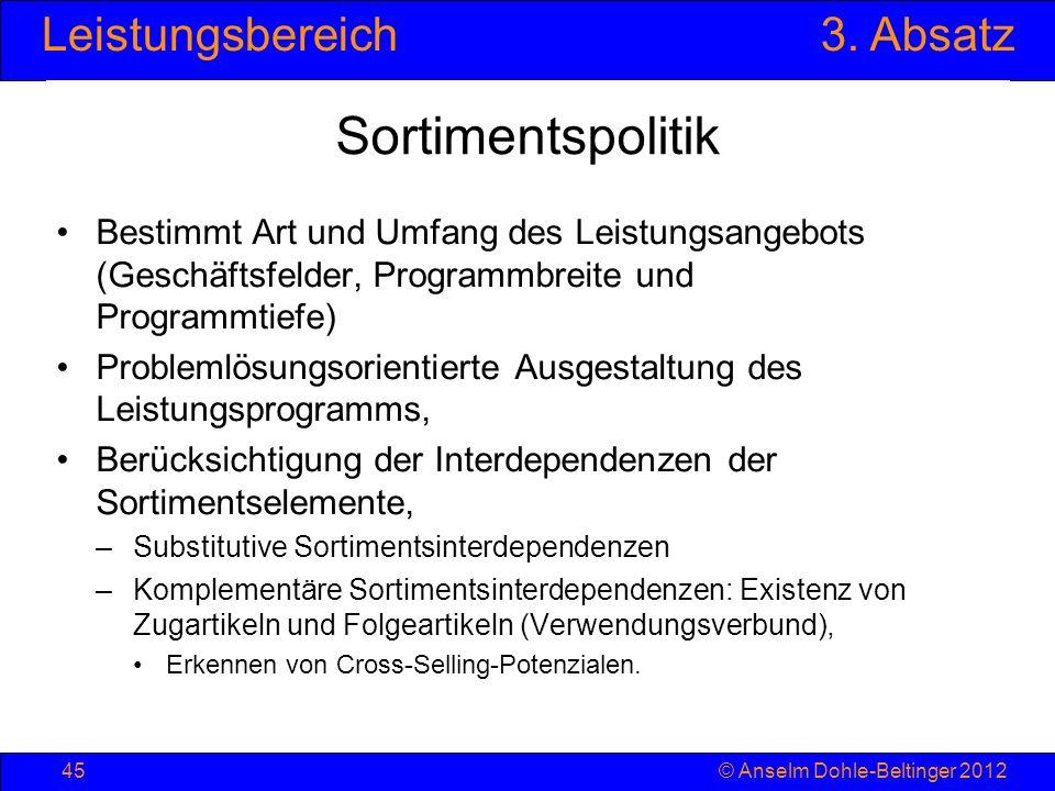 Leistungsbereich3. Absatz © Anselm Dohle-Beltinger 201245 Sortimentspolitik Bestimmt Art und Umfang des Leistungsangebots (Geschäftsfelder, Programmbr