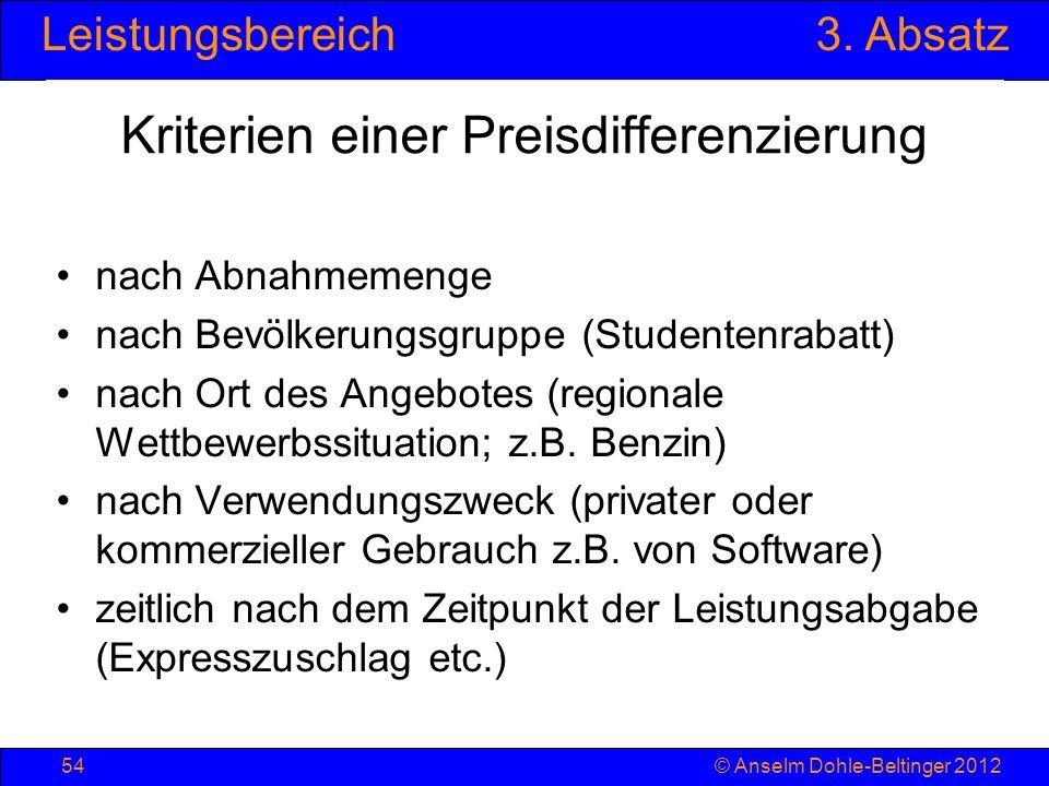 Leistungsbereich3. Absatz © Anselm Dohle-Beltinger 201254 Kriterien einer Preisdifferenzierung nach Abnahmemenge nach Bevölkerungsgruppe (Studentenrab