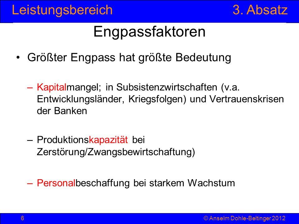 Leistungsbereich3. Absatz © Anselm Dohle-Beltinger 20126 Engpassfaktoren Größter Engpass hat größte Bedeutung –Kapitalmangel; in Subsistenzwirtschafte