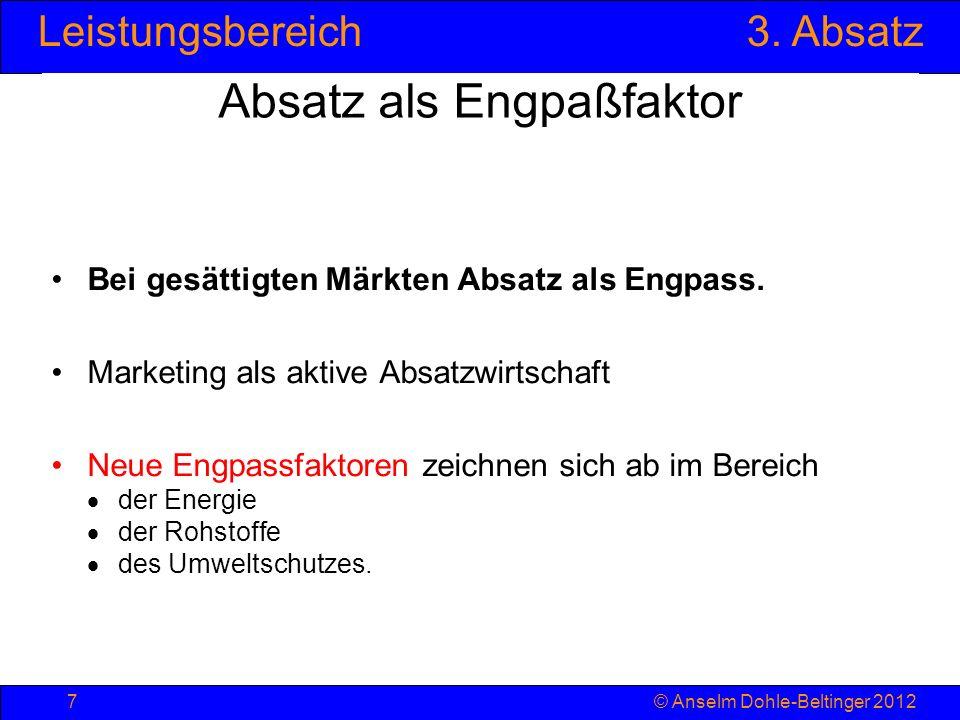 Leistungsbereich3. Absatz © Anselm Dohle-Beltinger 20127 Absatz als Engpaßfaktor Bei gesättigten Märkten Absatz als Engpass. Marketing als aktive Absa