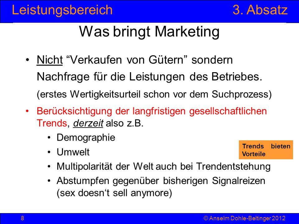 Leistungsbereich3. Absatz © Anselm Dohle-Beltinger 20128 Was bringt Marketing Nicht Verkaufen von Gütern sondern Nachfrage für die Leistungen des Betr