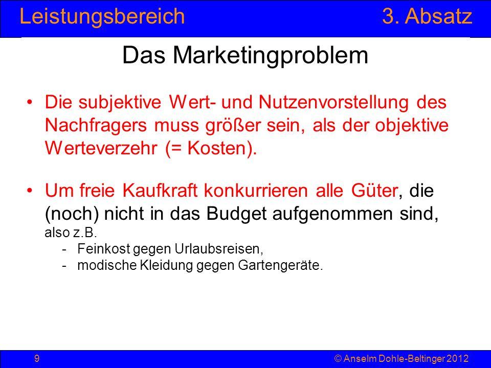 Leistungsbereich3. Absatz © Anselm Dohle-Beltinger 20129 Das Marketingproblem Die subjektive Wert- und Nutzenvorstellung des Nachfragers muss größer s