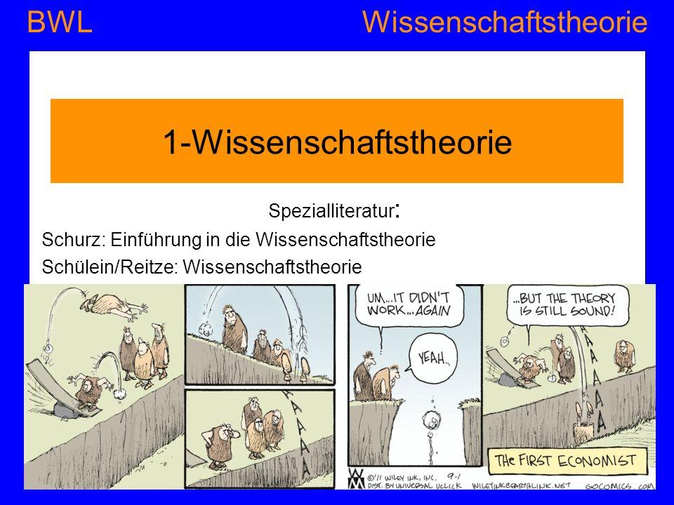 WissenschaftstheorieBWL 1-Wissenschaftstheorie Spezialliteratur : Schurz: Einführung in die Wissenschaftstheorie Schülein/Reitze: Wissenschaftstheorie