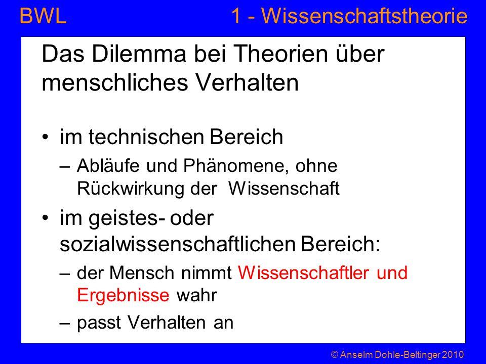 1 - WissenschaftstheorieBWL Das Dilemma bei Theorien über menschliches Verhalten im technischen Bereich –Abläufe und Phänomene, ohne Rückwirkung der W
