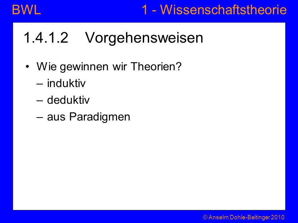 1 - WissenschaftstheorieBWL 1.4.1.2 Vorgehensweisen Wie gewinnen wir Theorien? –induktiv –deduktiv –aus Paradigmen © Anselm Dohle-Beltinger 2010