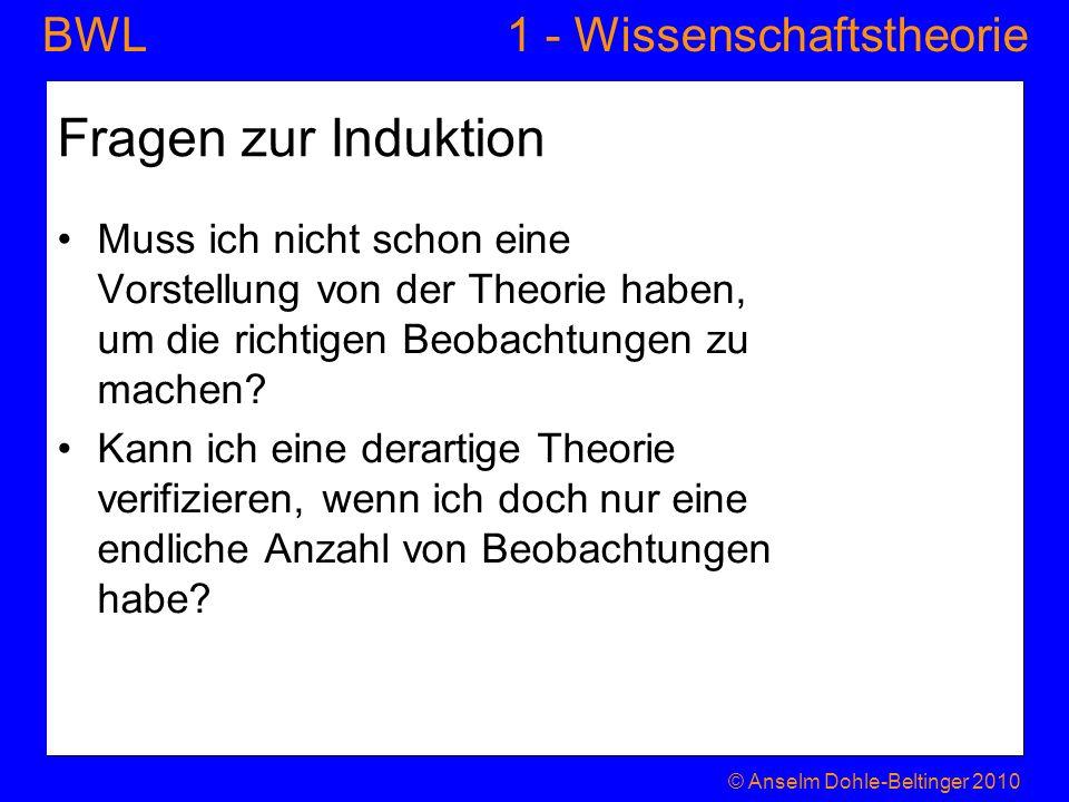 1 - WissenschaftstheorieBWL Fragen zur Induktion Muss ich nicht schon eine Vorstellung von der Theorie haben, um die richtigen Beobachtungen zu machen