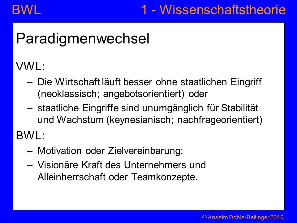1 - WissenschaftstheorieBWL Paradigmenwechsel VWL: –Die Wirtschaft läuft besser ohne staatlichen Eingriff (neoklassisch; angebotsorientiert) oder –sta