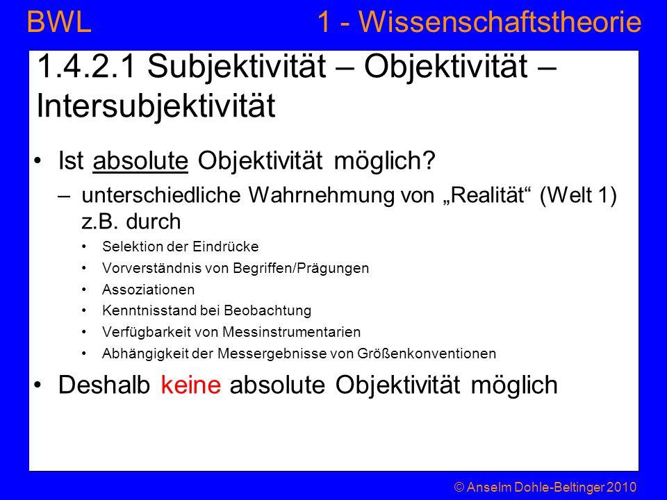 1 - WissenschaftstheorieBWL 1.4.2.1 Subjektivität – Objektivität – Intersubjektivität Ist absolute Objektivität möglich? –unterschiedliche Wahrnehmung