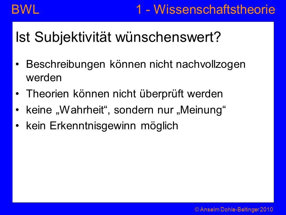 1 - WissenschaftstheorieBWL Ist Subjektivität wünschenswert? Beschreibungen können nicht nachvollzogen werden Theorien können nicht überprüft werden k