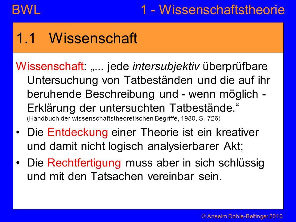 1 - WissenschaftstheorieBWL Theorien Theorien sind ein System aus –Festsetzungen (Definitionen) –Bedingungen (Prämissen) –und Aussagen (Hypothesen).