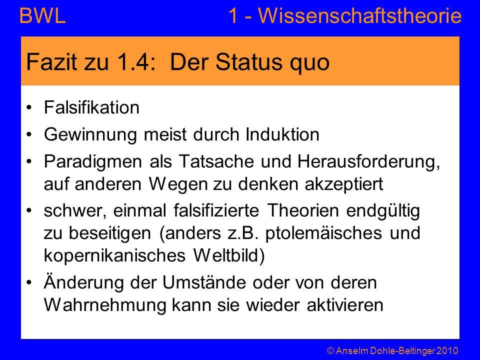 1 - WissenschaftstheorieBWL Fazit zu 1.4: Der Status quo Falsifikation Gewinnung meist durch Induktion Paradigmen als Tatsache und Herausforderung, au