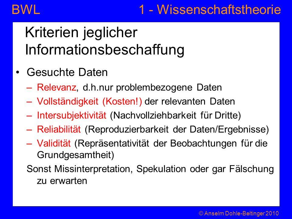 1 - WissenschaftstheorieBWL Kriterien jeglicher Informationsbeschaffung Gesuchte Daten –Relevanz, d.h.nur problembezogene Daten –Vollständigkeit (Kost