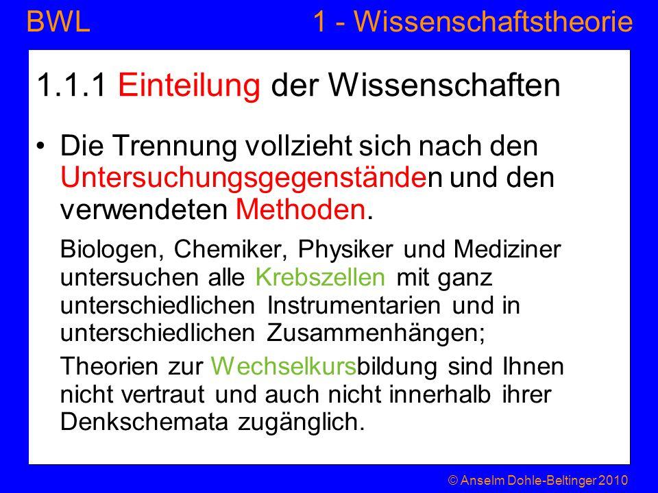 1 - WissenschaftstheorieBWL 1.1.1 Einteilung der Wissenschaften Die Trennung vollzieht sich nach den Untersuchungsgegenständen und den verwendeten Met