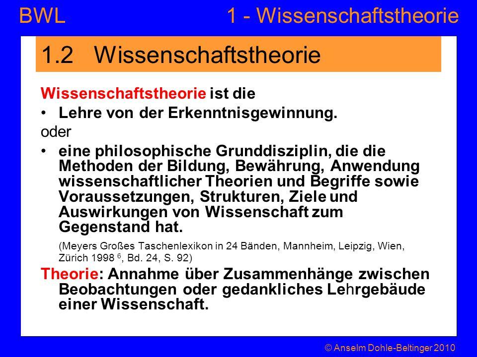 1 - WissenschaftstheorieBWL 1.3 Erkenntnisobjekt von Naturwissenschaft und Betriebswirtschaft und ihre Rückkoppelung mit der Wissenschaft © Anselm Dohle-Beltinger 2010