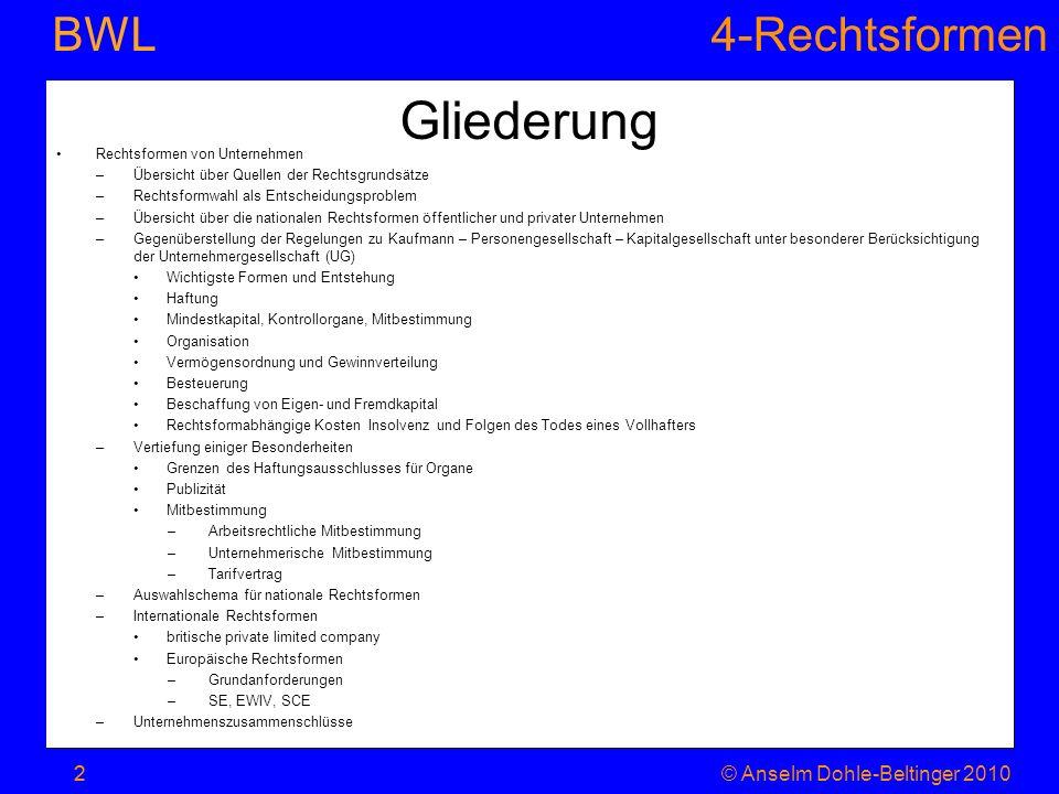 4-Rechtsformen BWL 2© Anselm Dohle-Beltinger 2010 Gliederung 2 Rechtsformen von Unternehmen –Übersicht über Quellen der Rechtsgrundsätze –Rechtsformwa