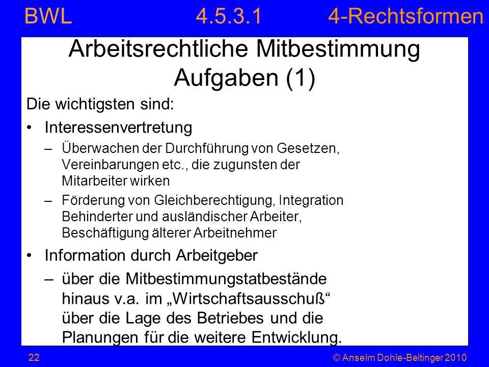 4-Rechtsformen BWL 22© Anselm Dohle-Beltinger 2010 Arbeitsrechtliche Mitbestimmung Aufgaben (1) Die wichtigsten sind: Interessenvertretung –Überwachen