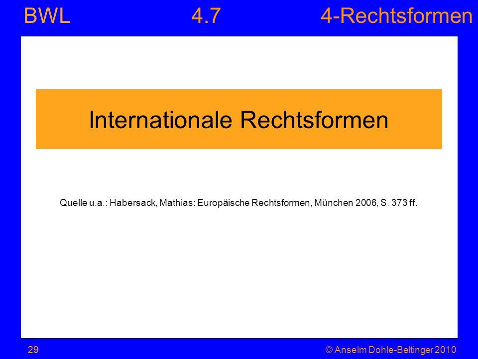 4-Rechtsformen BWL 29© Anselm Dohle-Beltinger 201029 Internationale Rechtsformen Quelle u.a.: Habersack, Mathias: Europäische Rechtsformen, München 20
