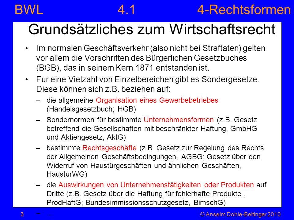 4-Rechtsformen BWL 3© Anselm Dohle-Beltinger 20103 Grundsätzliches zum Wirtschaftsrecht Im normalen Geschäftsverkehr (also nicht bei Straftaten) gelte