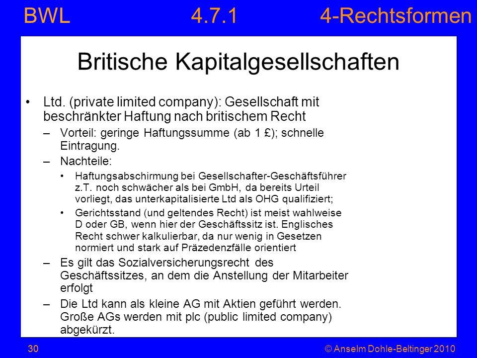 4-Rechtsformen BWL 30© Anselm Dohle-Beltinger 201030 Britische Kapitalgesellschaften Ltd. (private limited company): Gesellschaft mit beschränkter Haf
