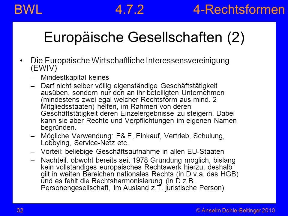 4-Rechtsformen BWL 32© Anselm Dohle-Beltinger 201032 Europäische Gesellschaften (2) Die Europäische Wirtschaftliche Interessensvereinigung (EWIV) –Min