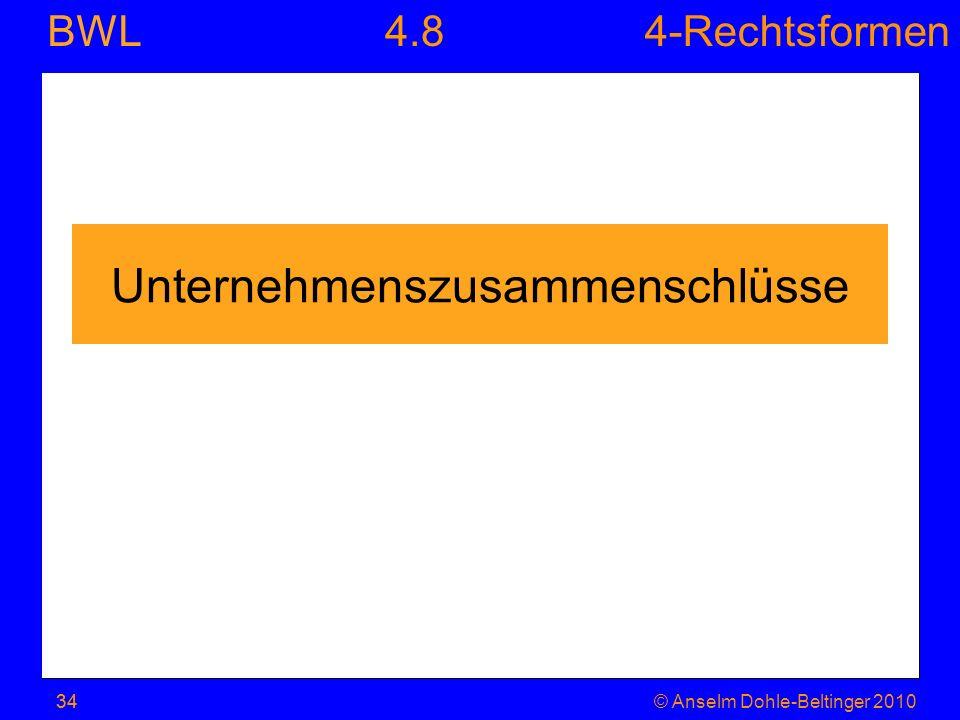 4-Rechtsformen BWL 34© Anselm Dohle-Beltinger 201034 Unternehmenszusammenschlüsse 4.8