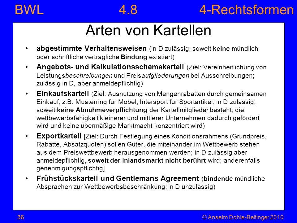 4-Rechtsformen BWL 36© Anselm Dohle-Beltinger 201036 Arten von Kartellen abgestimmte Verhaltensweisen (in D zulässig, soweit keine mündlich oder schri