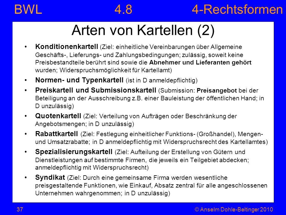 4-Rechtsformen BWL 37© Anselm Dohle-Beltinger 201037 Arten von Kartellen (2) Konditionenkartell (Ziel: einheitliche Vereinbarungen über Allgemeine Ges