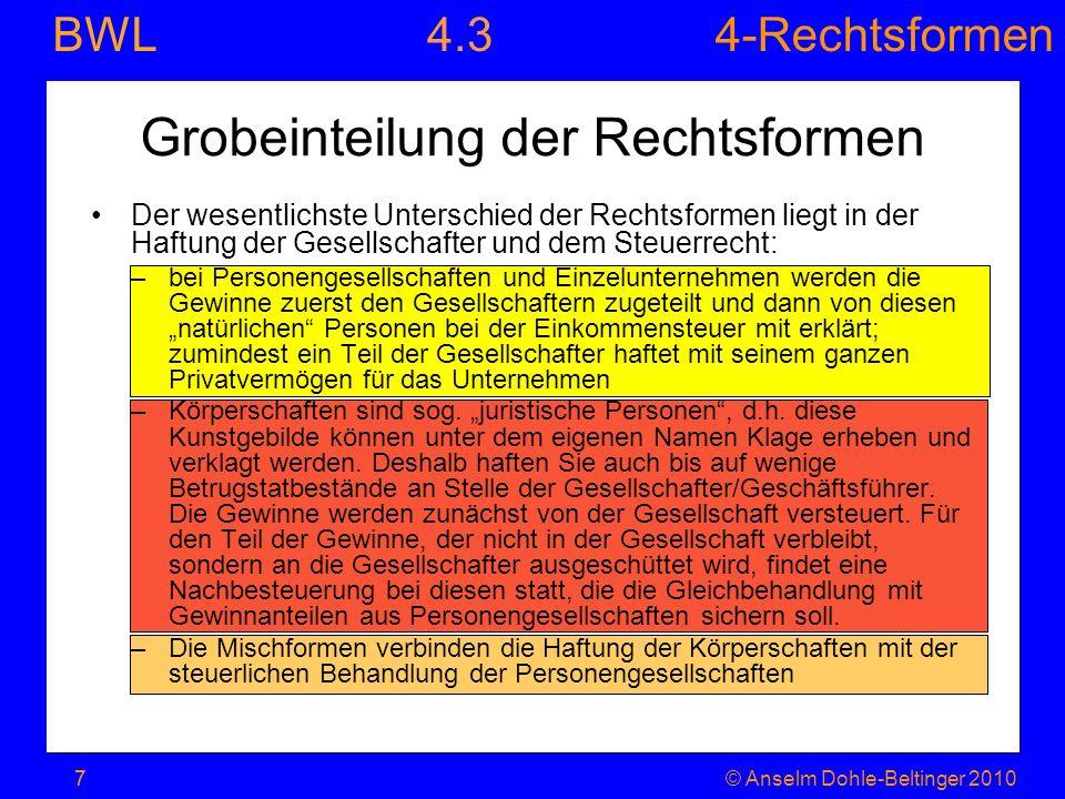 4-Rechtsformen BWL 7© Anselm Dohle-Beltinger 20107 Grobeinteilung der Rechtsformen Der wesentlichste Unterschied der Rechtsformen liegt in der Haftung