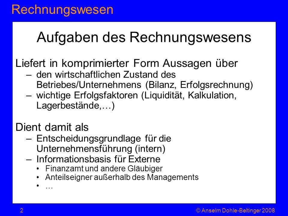 RechnungswesenJahresabschluss © Anselm Dohle-Beltinger 200823 Zweck Kaufmännische Darstellung der Unternehmenslage nach innen, d.h.