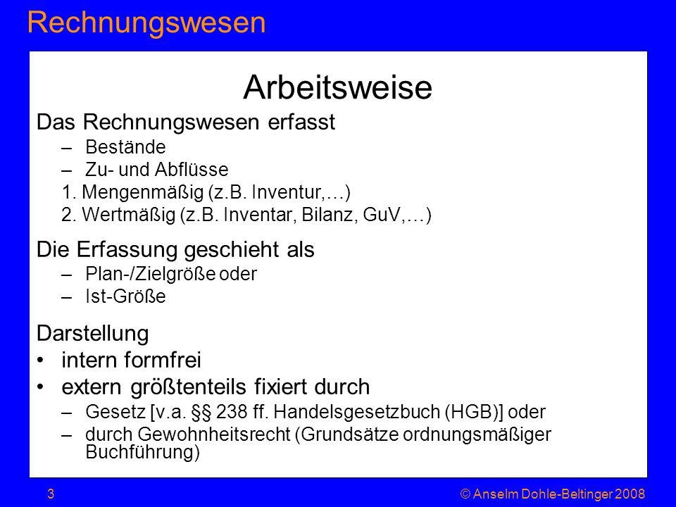 RechnungswesenJahresabschluss © Anselm Dohle-Beltinger 200824 Methodik 1.Erfassung des Werteverzehrs gegliedert nach Inputfaktoren Kostenarten (Material, Personal, …) wer/was genau hat die Kosten verursacht.