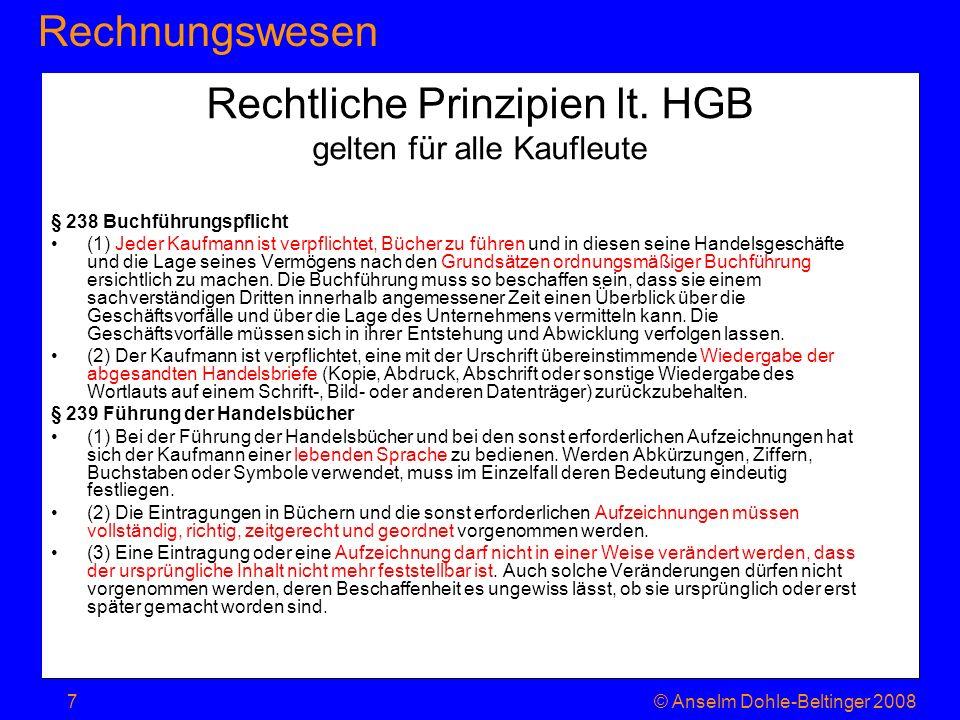 RechnungswesenJahresabschluss © Anselm Dohle-Beltinger 200818 Zwei Gliederungsmöglichkeiten der GuV nach dem HGB Gesamtkosten –Aufteilung nach Inputfaktoren Personal Material Abschreibung sonst.