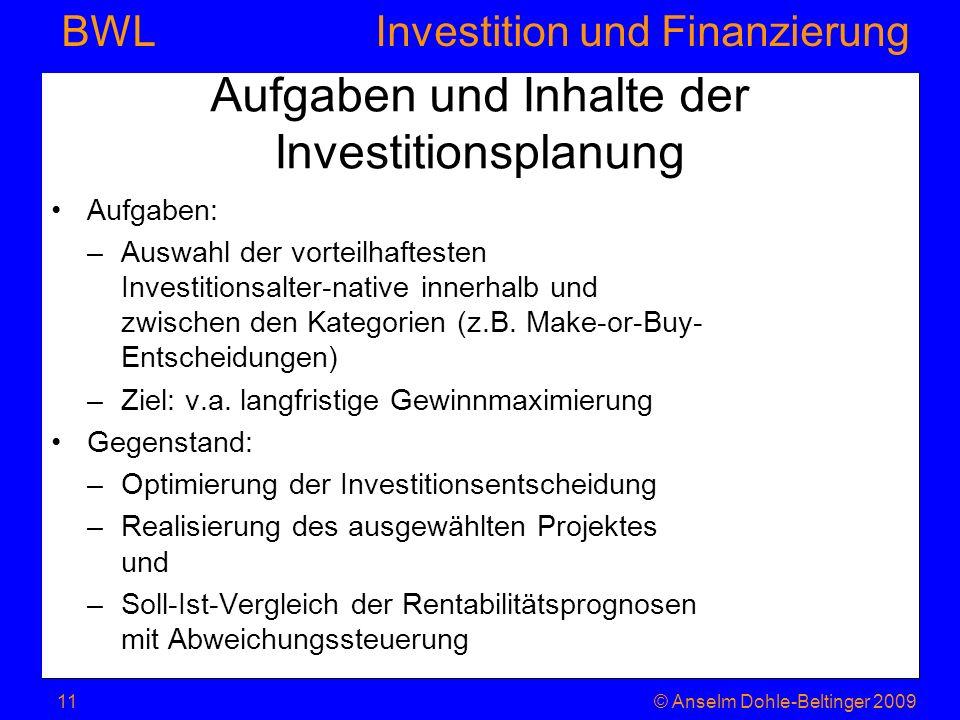 Investition und Finanzierung BWL Aufgaben und Inhalte der Investitionsplanung Aufgaben: –Auswahl der vorteilhaftesten Investitionsalter-native innerha