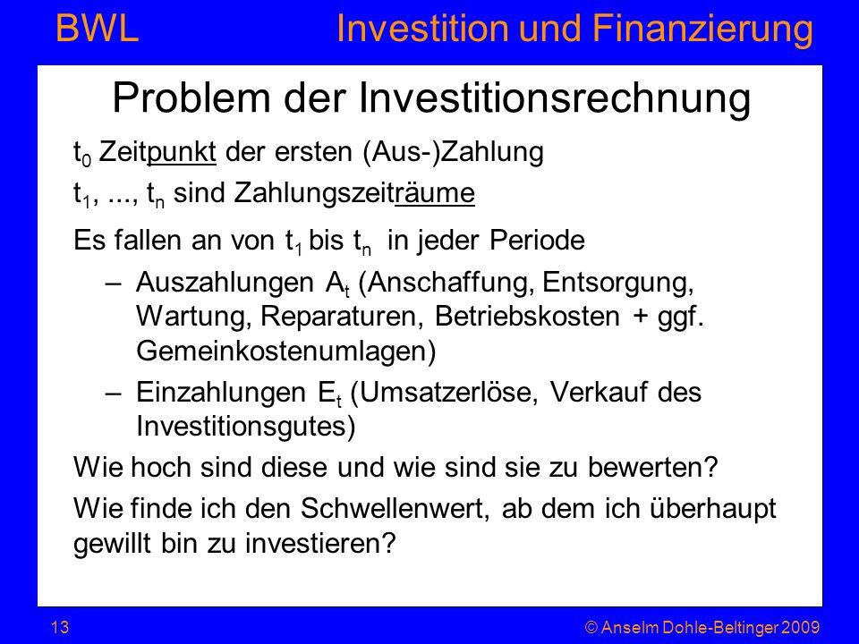 Investition und Finanzierung BWL Problem der Investitionsrechnung t 0 Zeitpunkt der ersten (Aus-)Zahlung t 1,..., t n sind Zahlungszeiträume Es fallen