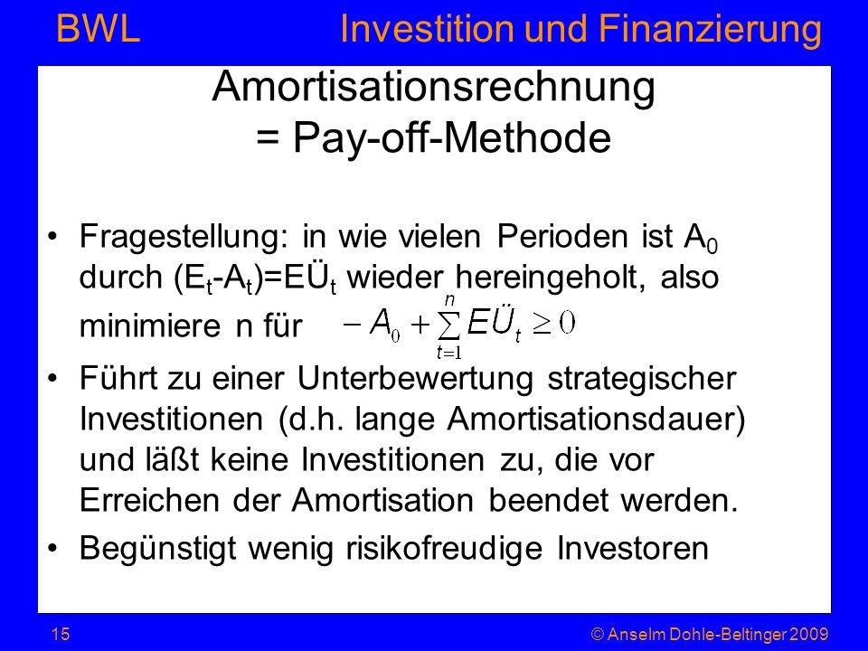 Investition und Finanzierung BWL Amortisationsrechnung = Pay-off-Methode Fragestellung: in wie vielen Perioden ist A 0 durch (E t -A t )=EÜ t wieder h