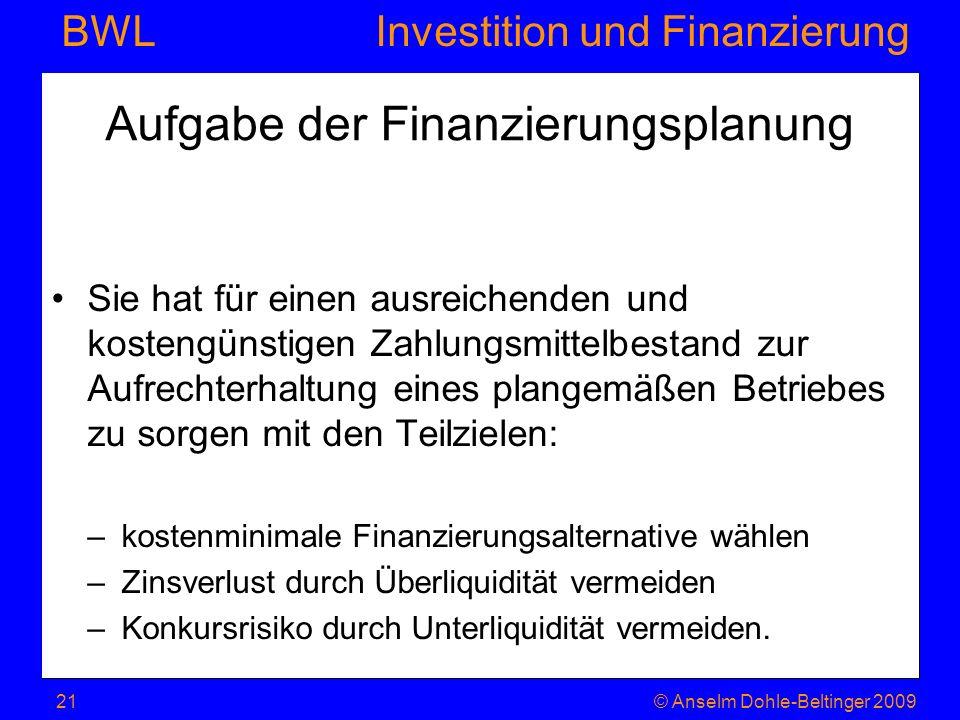 Investition und Finanzierung BWL Aufgabe der Finanzierungsplanung Sie hat für einen ausreichenden und kostengünstigen Zahlungsmittelbestand zur Aufrec