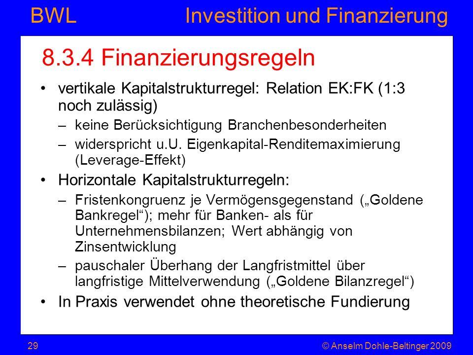 Investition und Finanzierung BWL 8.3.4 Finanzierungsregeln vertikale Kapitalstrukturregel: Relation EK:FK (1:3 noch zulässig) –keine Berücksichtigung